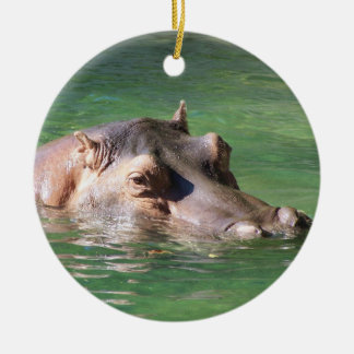 Hippopotamus Swimming On The Surface Round Ceramic Ornament