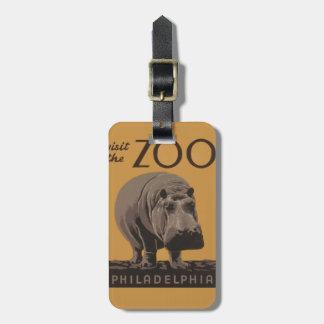 Hippopotamus Vintage WPA Zoo Poster Philadelphia Luggage Tag