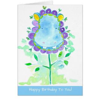Hippopotamus Watercolor Flower Happy Birthday Card