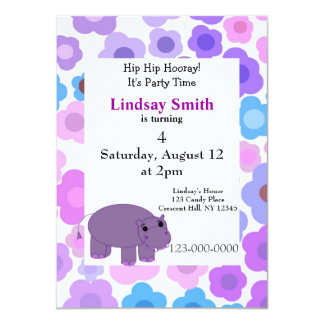 Hippos and Flowers Party Invitation