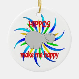 Hippos Make Me Happy Ceramic Ornament