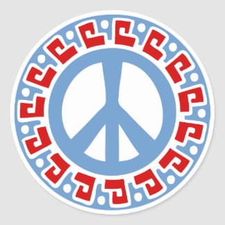 Hippy 60s Peace Symbol with Aztec Style Border Round Stickers