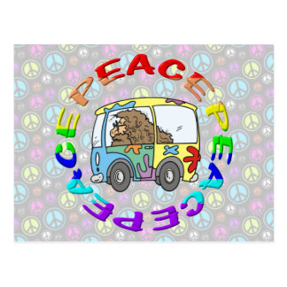 hippy and van with peace postcard