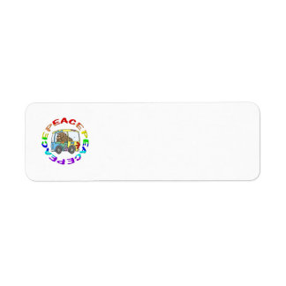 hippy and van with peace return address label