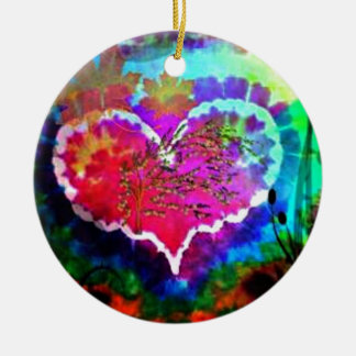 Hippy at Heart Rainbow Tie Dye gift collection Ceramic Ornament