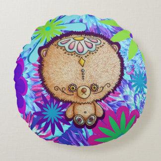 Hippy Bear Round Pillow
