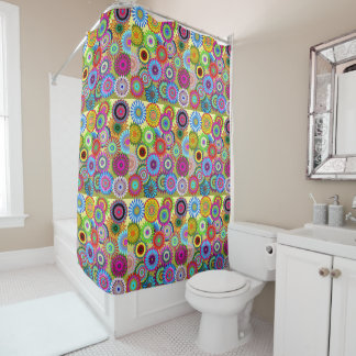 Hippy Chic Psychedelic Floral Shower Curtain