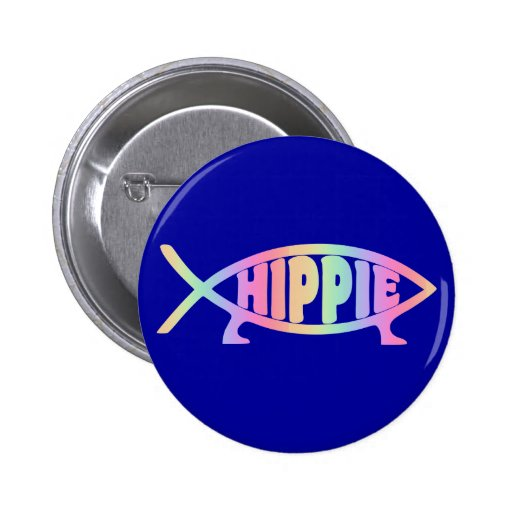 Hippy fish Rainbow Buttons