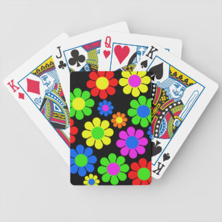 Hippy Flower Collage Bicycle Playing Cards