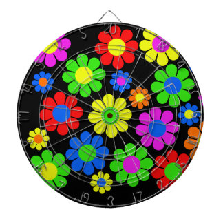 Hippy Flower Collage Dartboard