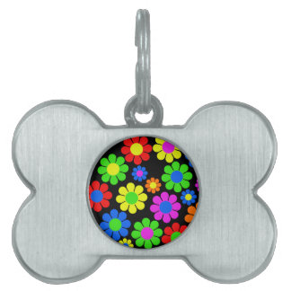 Hippy Flower Collage Pet Name Tag