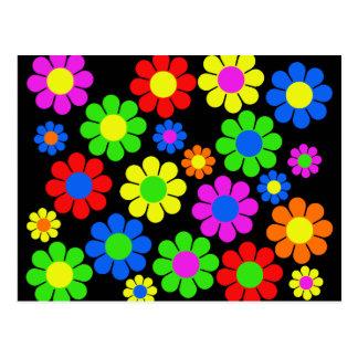 Hippy Flower Collage Postcard