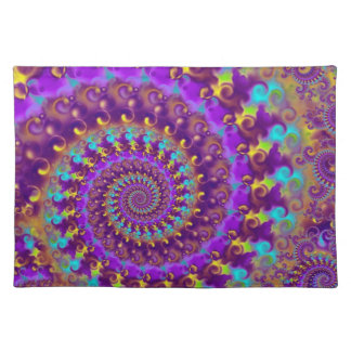 Hippy Fractal Pattern Purple Turquoise & Yellow Place Mats