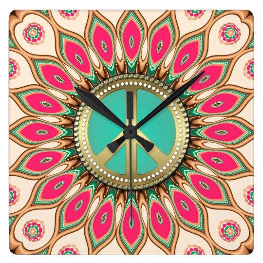 Hippy Groovy Love & Peace Sunflower Wall Flower Wallclock