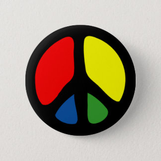 Hippy Groovy Peace Symbol 2 Inch Round Button