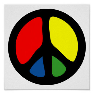 Hippy Groovy Peace Symbol Poster