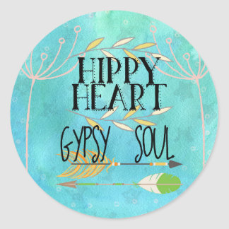 Hippy Heart Gypsy Soul Classic Round Sticker