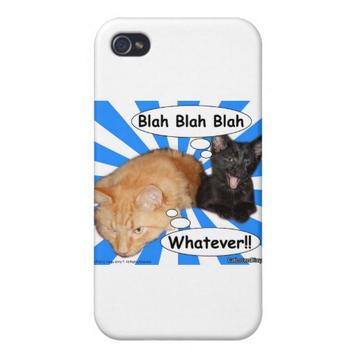 Hippy Kitty Blah Blah Blah Whatever!! iPhone 4 Cases
