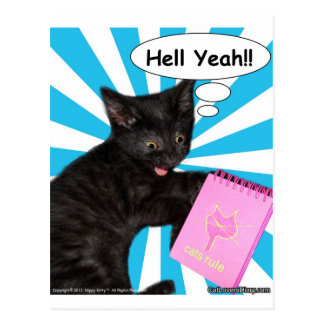Hippy Kitty Hell Yeah!! Cats Rule Postcard