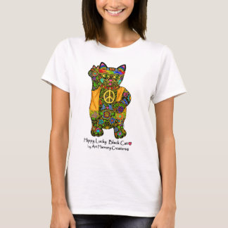 Hippy Lucky Black Cat Woman's T-Shirt