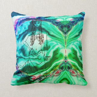Hippy Mermaid Throw Pillow