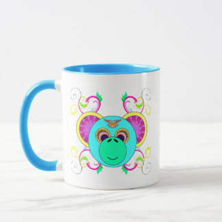 Hippy Monkey Colorful Psychedelic Rainbow Animal Mug