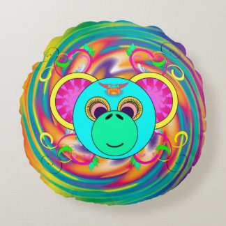 Hippy Monkey Colorful Psychedelic Rainbow Animal Round Pillow