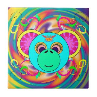Hippy Monkey Colorful Psychedelic Rainbow Animal Tile