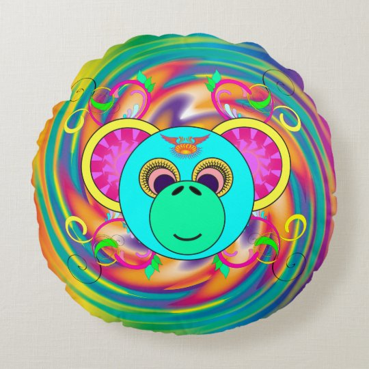 Hippy Monkey Colourful Psychedelic Rainbow Animal Round Pillow