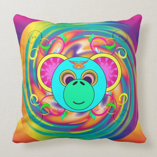 Hippy Monkey Colourful Psychedelic Rainbow Animal Throw Pillow