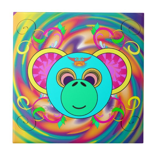 Hippy Monkey Colourful Psychedelic Rainbow Animal Tile