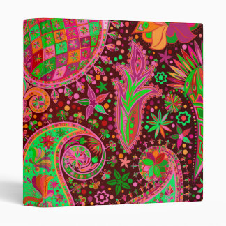 Hippy Peace Retro Colorful Boho Chic 3 Ring Binder