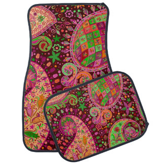 Hippy Peace Retro Hand Colorful Boho Auto Mat