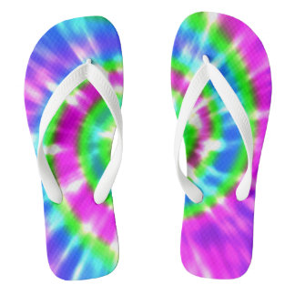 Hippy Peace Retro Tie Dye Colorful Boho Flip Flops