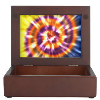 Hippy Peace Retro Tie Dye Colorful Boho Keepsake Box