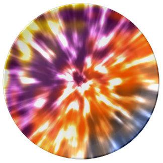 Hippy Peace Retro Tie Dye Colorful Boho Plate