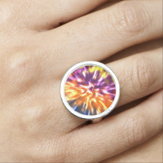 Hippy Peace Retro Tie Dye Colorful Boho Rings