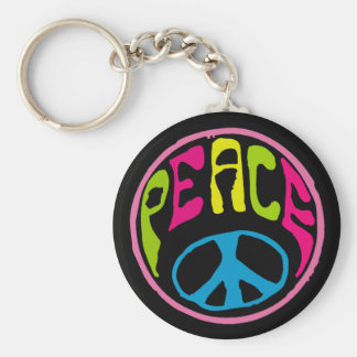 Hippy Peace Sign Keychain