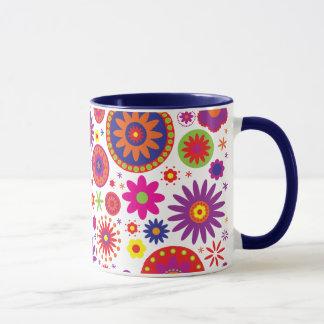 Hippy Rainbow Flowers Mug