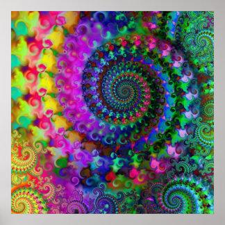 Hippy Rainbow Fractal Pattern Poster