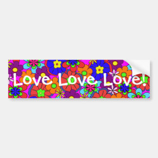 Hippy Retro Flowers Bumper Sticker