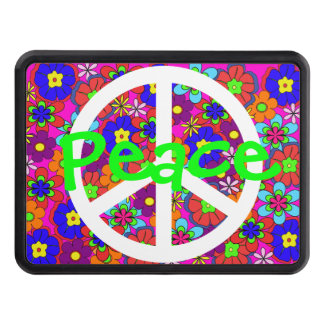 Hippy Retro Flowers Green Peace Trailer Hitch Cover