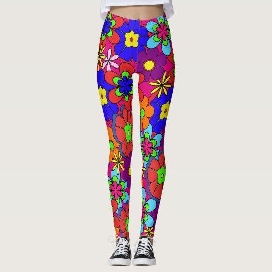 Hippy Retro Flowers Leggings