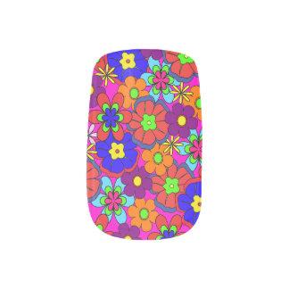 Hippy Retro Flowers Minx Nail Art