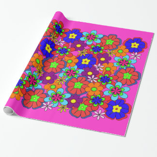 Hippy Retro Flowers Wrapping Paper