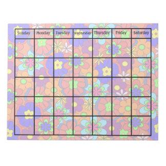 Hippy Retro Mod Flower Blank Calendar Notepad