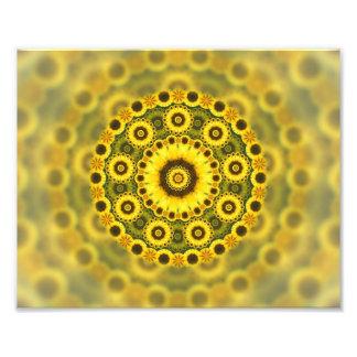 Hippy Sunflower Fractal Mandala Pattern Photo Print