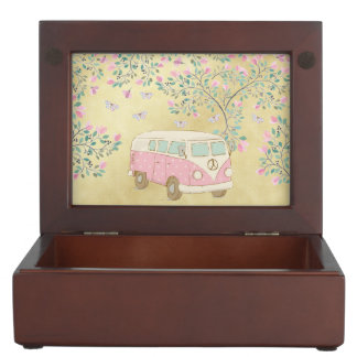 Hippy Van Butterflies and Blossom Gold Keepsake Box
