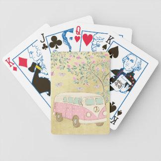 Hippy Van Butterflies and Blossom Gold Poker Deck