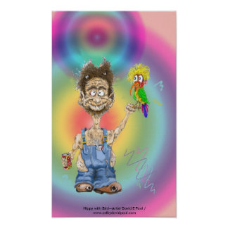 Hippy with Bird Poster